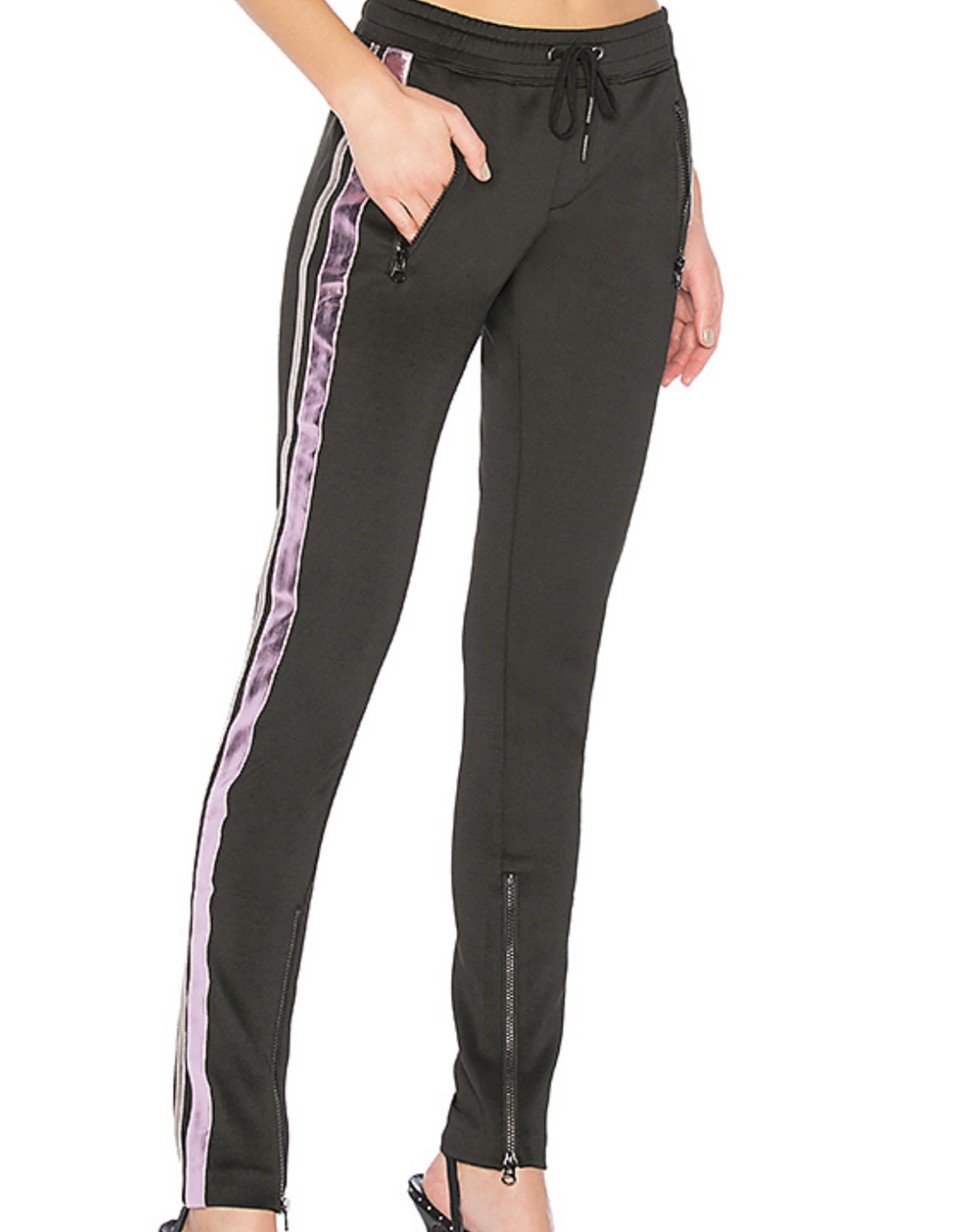 Pam & Gela Black Metallic Contrast Cigarette Pant