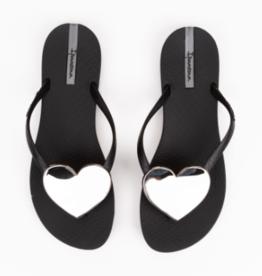 Ipanema Black/Silver Wave Heart Sandals
