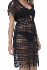 Gottex Black Tutti Frutti New Crochet Dress
