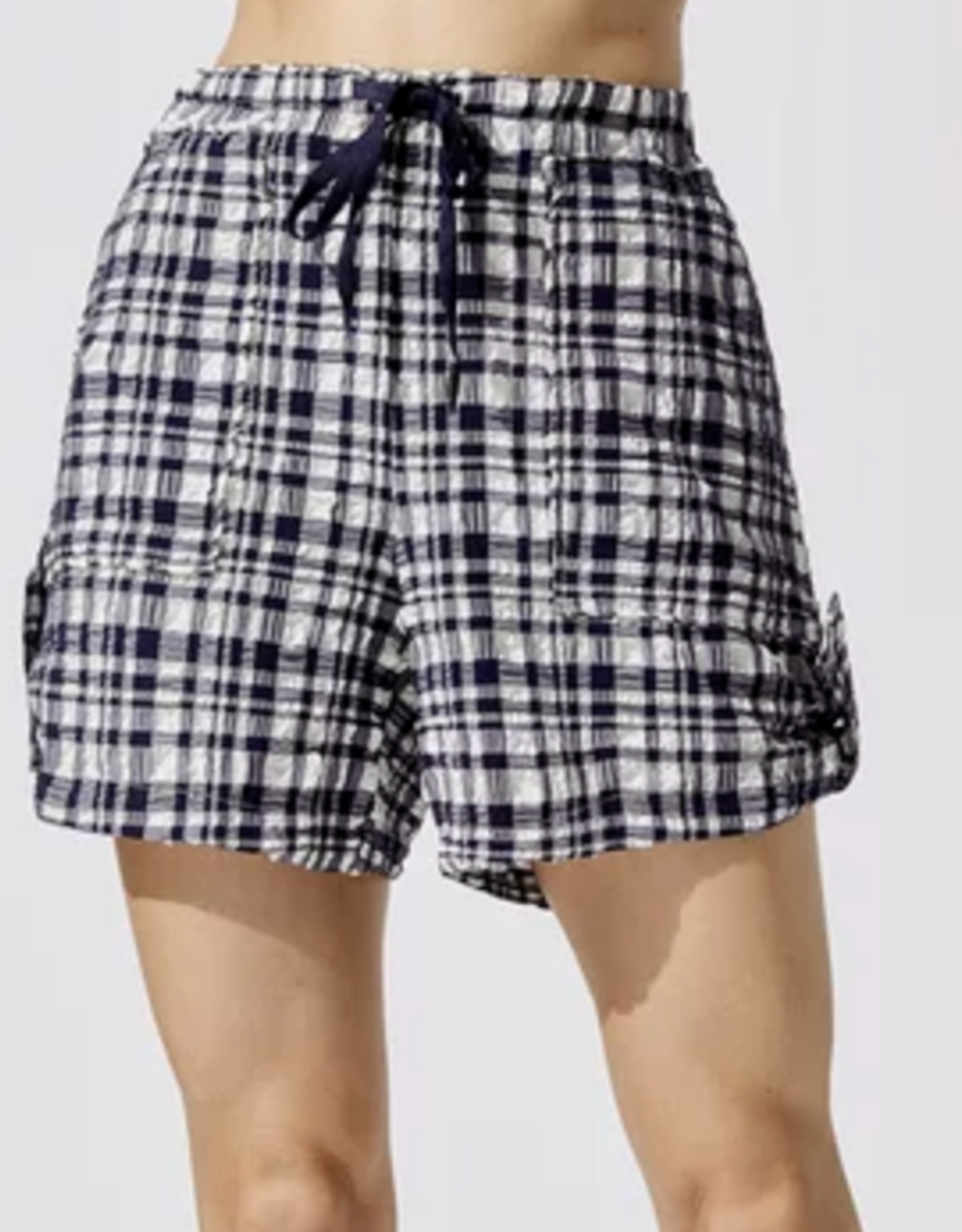 Solid & Striped Puckered Madras Drawstring Shorts