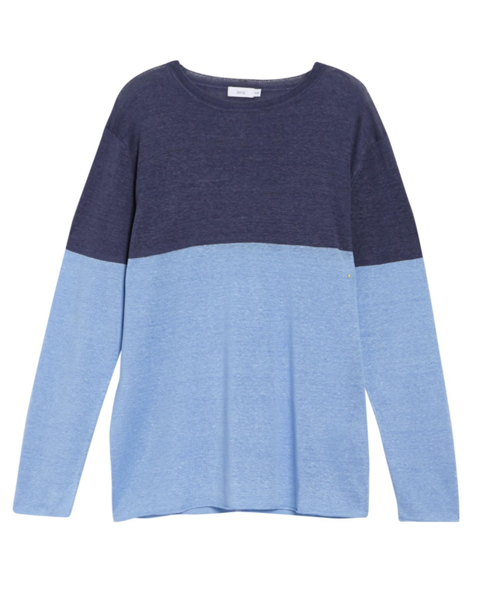 Onia Color Block Safari Sky Kevin Crewneck Sweater