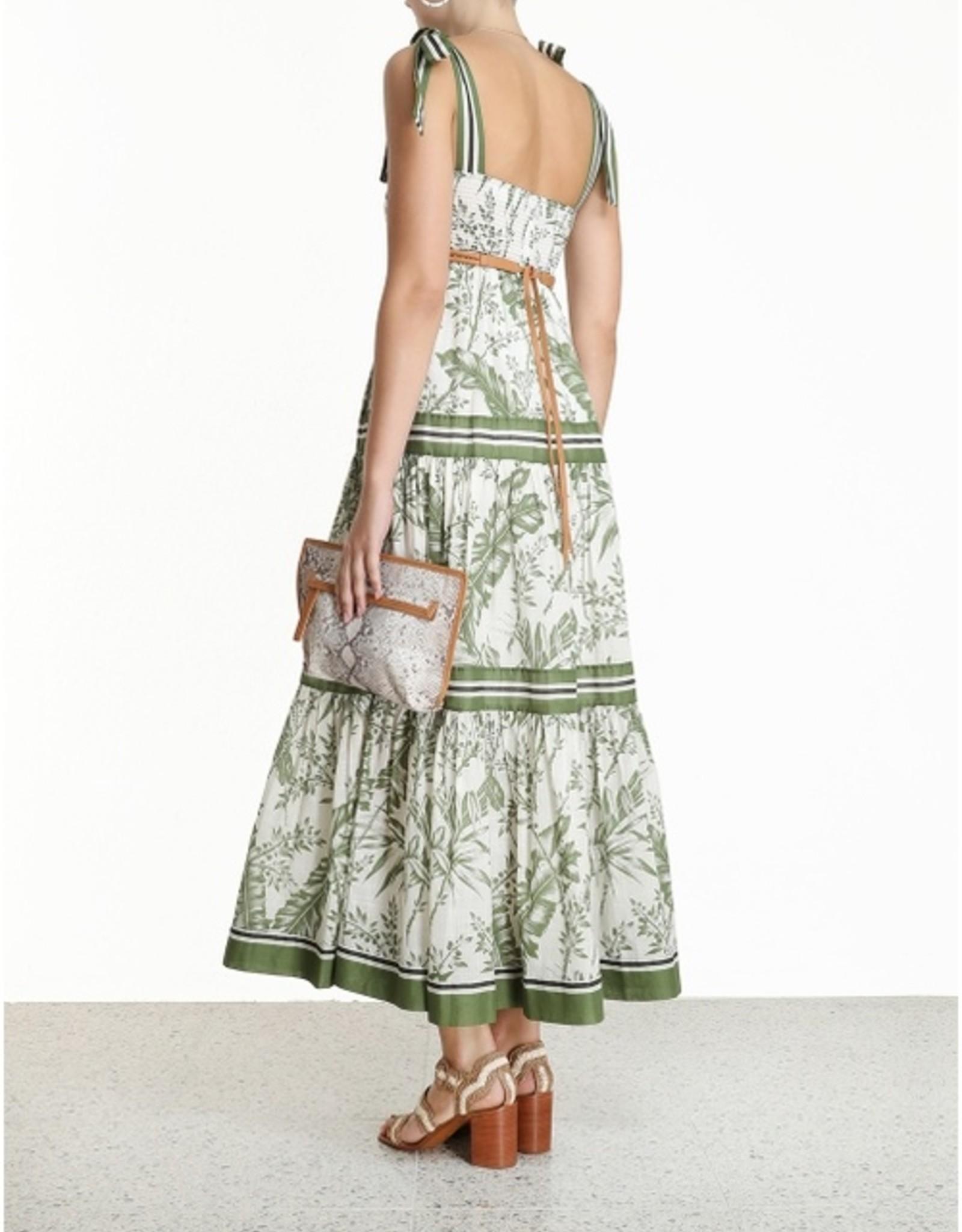 Zimmermann Khaki Palm Empire Dress
