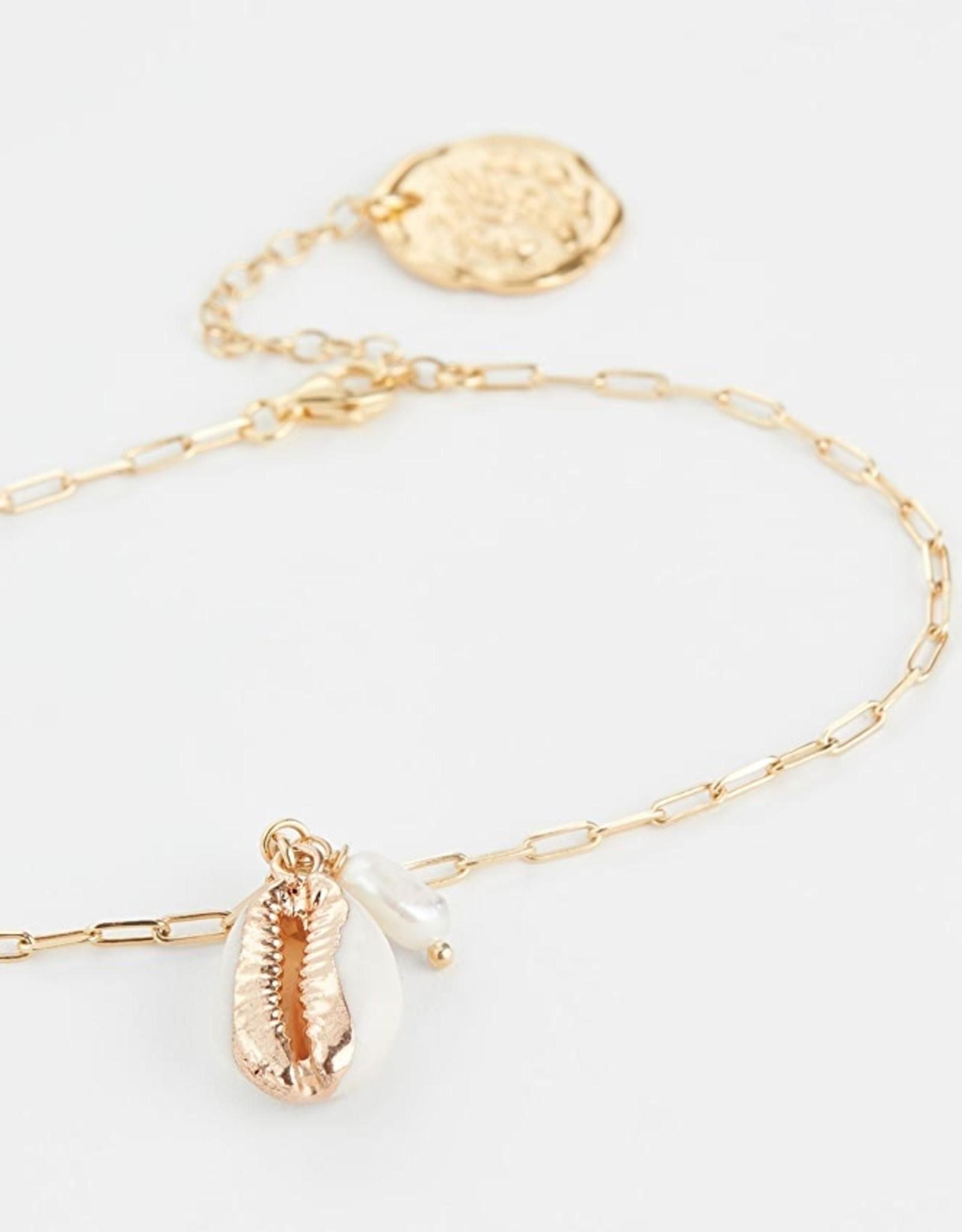 Ancient Greek Gold Fine Chain White Shell
