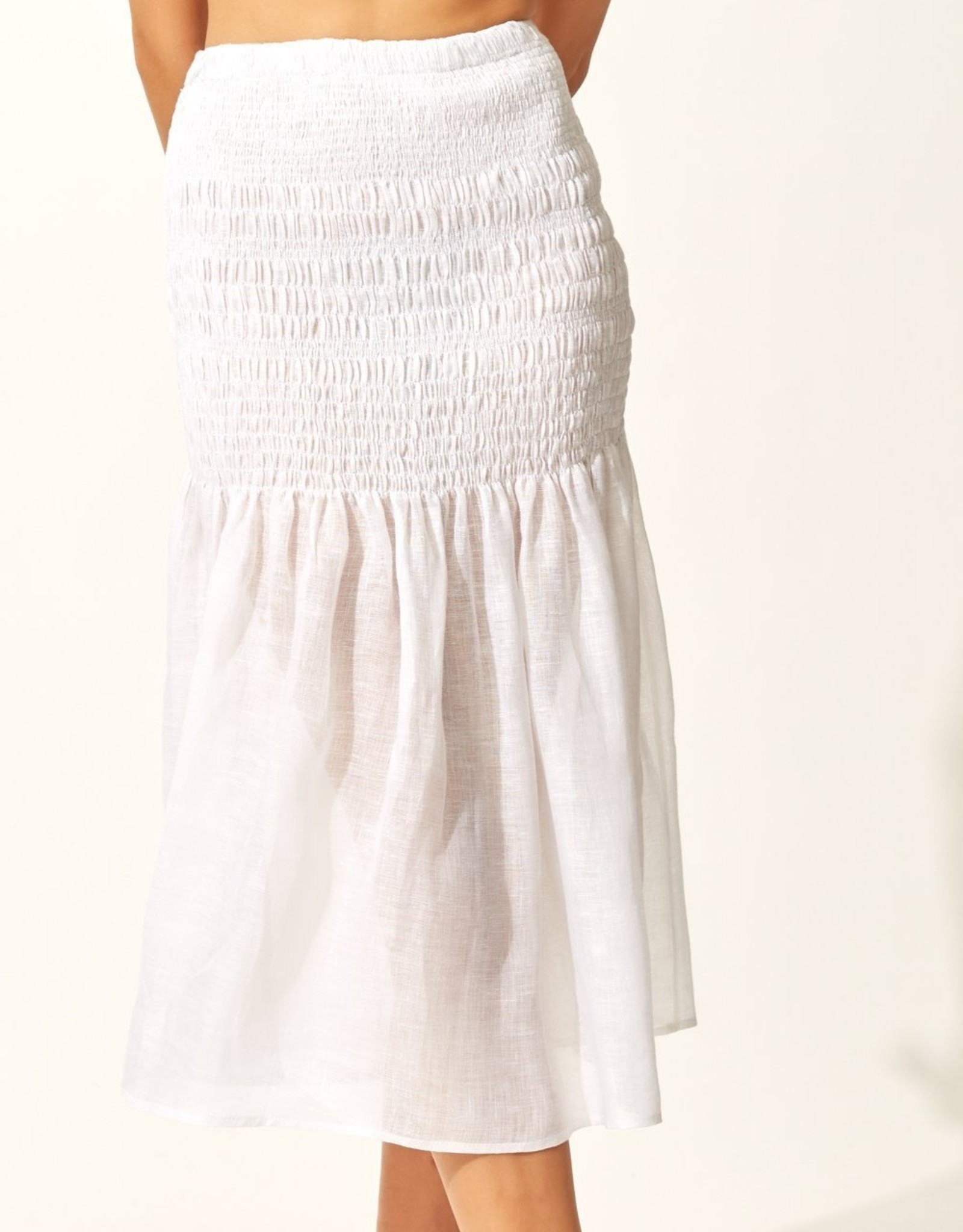 Solid & Striped White Smocked Skirt