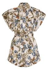 MXN Aliane Roll Cuff Playsuit Khaki Floral