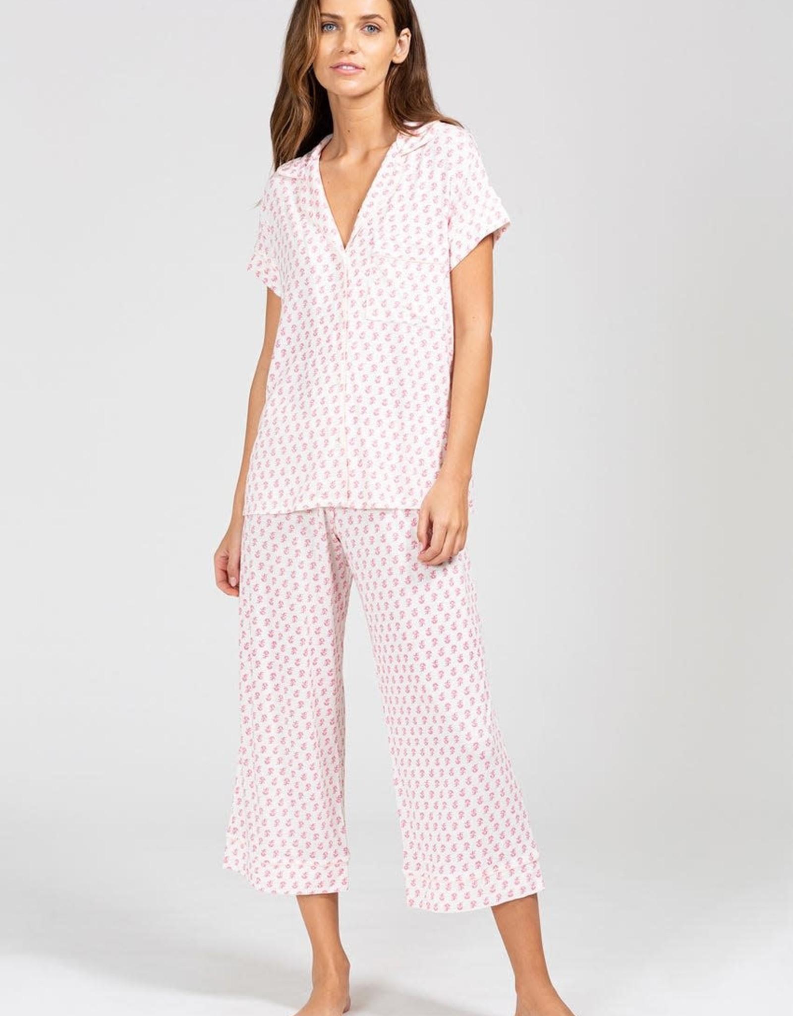 Eberjey Gisele Printed The Short Sleeve Cropped PJ Set Daisy Bright Pink