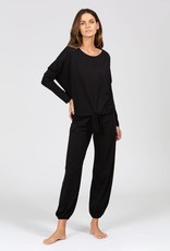 Eberjey Heather Slouchy Top & Cropped Pant Black