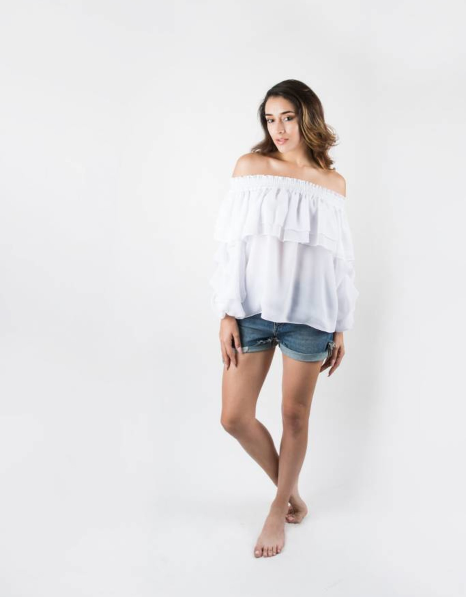 Misa White Elyse Chiffon Off Shoulder Ruffle Sleeve Top