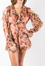 Zimmermann Pink Floral Lovelorn Frill Playsuit