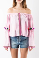 Pitusa Light Pink Pom Pom Crop Top