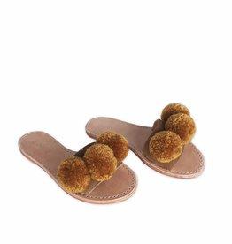 Binge Camel/Ochre Pom Slip-Ons Sandals