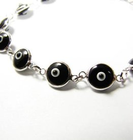 Bracelet - Black Evil Eye & Sterling Silver