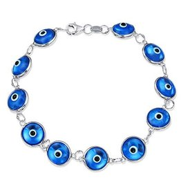 Bracelet - Blue Evil Eye & Sterling Silver
