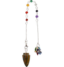 Pendulum - Chakra Tiger Eye with Chakra Beads