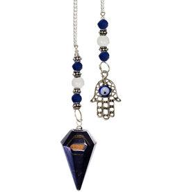 Pendulum - Blue Tiger Eye with Fatima Hand