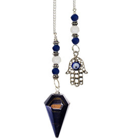 Pendulum - Blue Tigers Eye/ Falcons Eye with Fatima Hand
