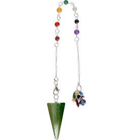 Pendulum - 7 Chakra Faceted Pendulum - Green Aventurine