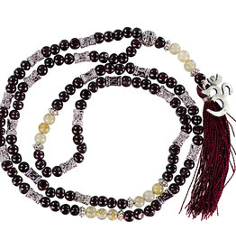 Mala - Garnet & Golden Rutile with Om Symbol