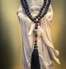Mala - Lava with Chakra Beads