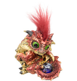 Statue - Red Baby Dragon Figurine with Sphere