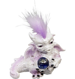 Statue - White Baby Dragon Figurine Holding Sphere