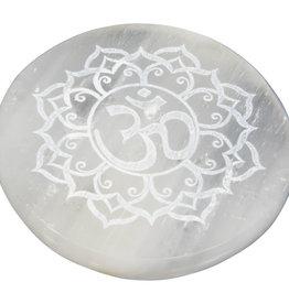 Incense Holder -  Selenite with Om Symbol - Round