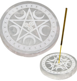 Incense Holder -  Selenite Round with Pentacle