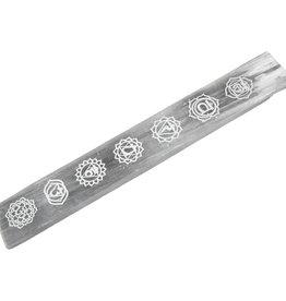 Incense Holder -  Selenite with Chakra Symbols