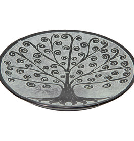Incense Holder -  Tree of Life Black Soapstone - Round