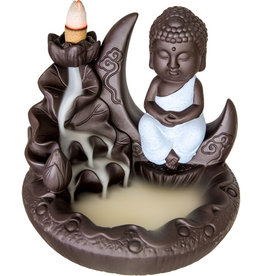 Incense Holder - Ceramic Backflow - Buddha on Moon