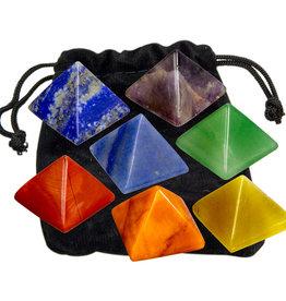 7 Gemstone Carved Chakra Pyramids