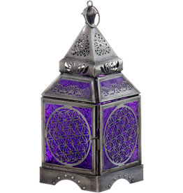 Glass & Metal Lantern - Flower of Life Purple