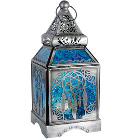 Glass & Metal Lantern - Dreamcatcher Blue