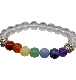 Bracelet - 7 Chakras with Clear Quartz