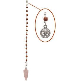 Pendulum - Curved Rose Quartz with Rudraksha & Om Chain