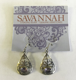 Earrings - Amethyst Teardrop Sterling Silver