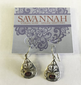 Earrings - Garnet Teardrop Sterling Silver - E919GA