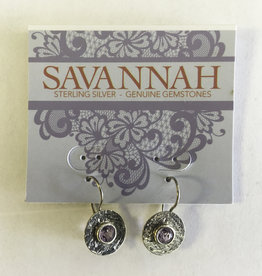 Earrings - Round Amethyst Sterling Silver - 326