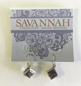 Earrings - Amethyst Diamond Shaped Sterling Silver - E922AM