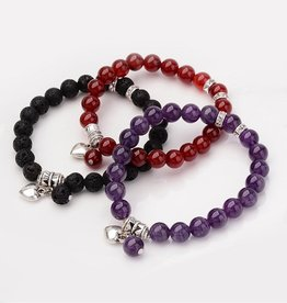 Bracelet- Amethyst with Heart Charm