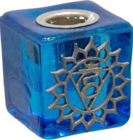 Throat Chakra Mini Glass Candle Holder