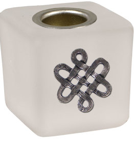 Mini Candle Holder - Cube Celtic Frosted - 03525