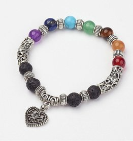 Chakra Stones with Spacer and Heart Charm Bracelet