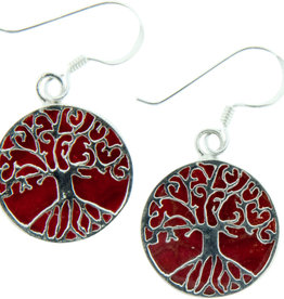 Earrings - Tree of Life Red Coral & Sterling Silver - BL44030
