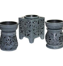 Oil Burner - Soapstone Flower Tracery Black - 08655
