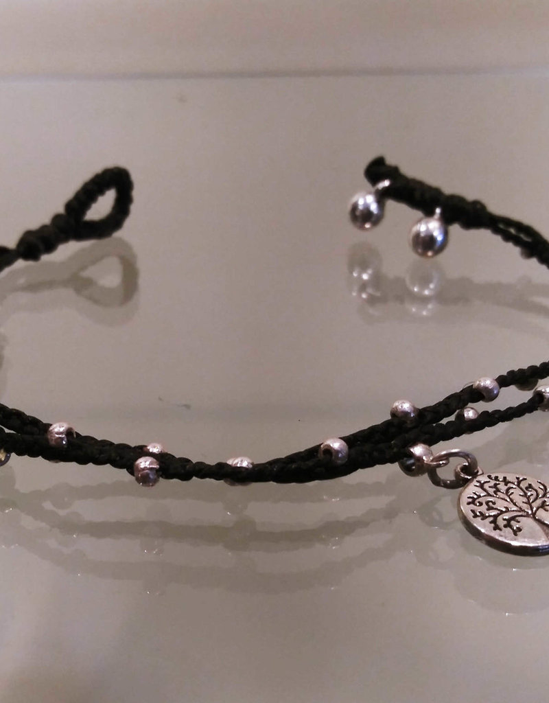 Anklet- Tree off Life Charms, Black- A511