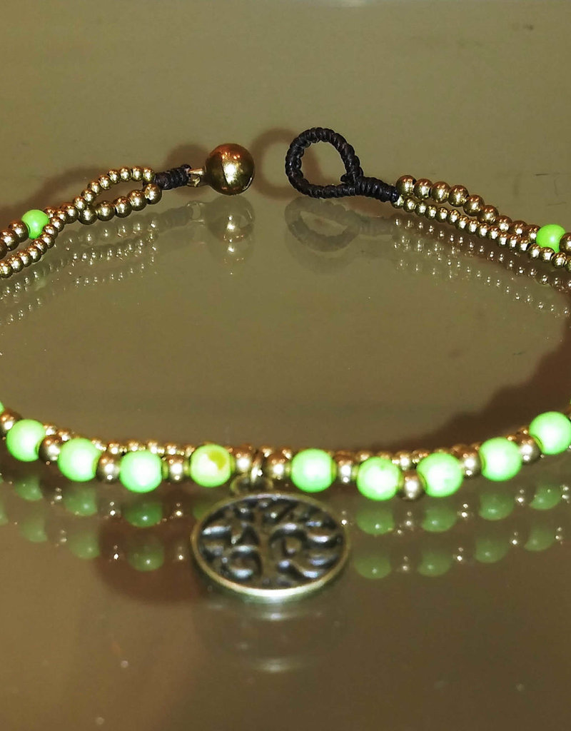 Anklet - Tree of Life Green Beaded 2 Strand - A22068