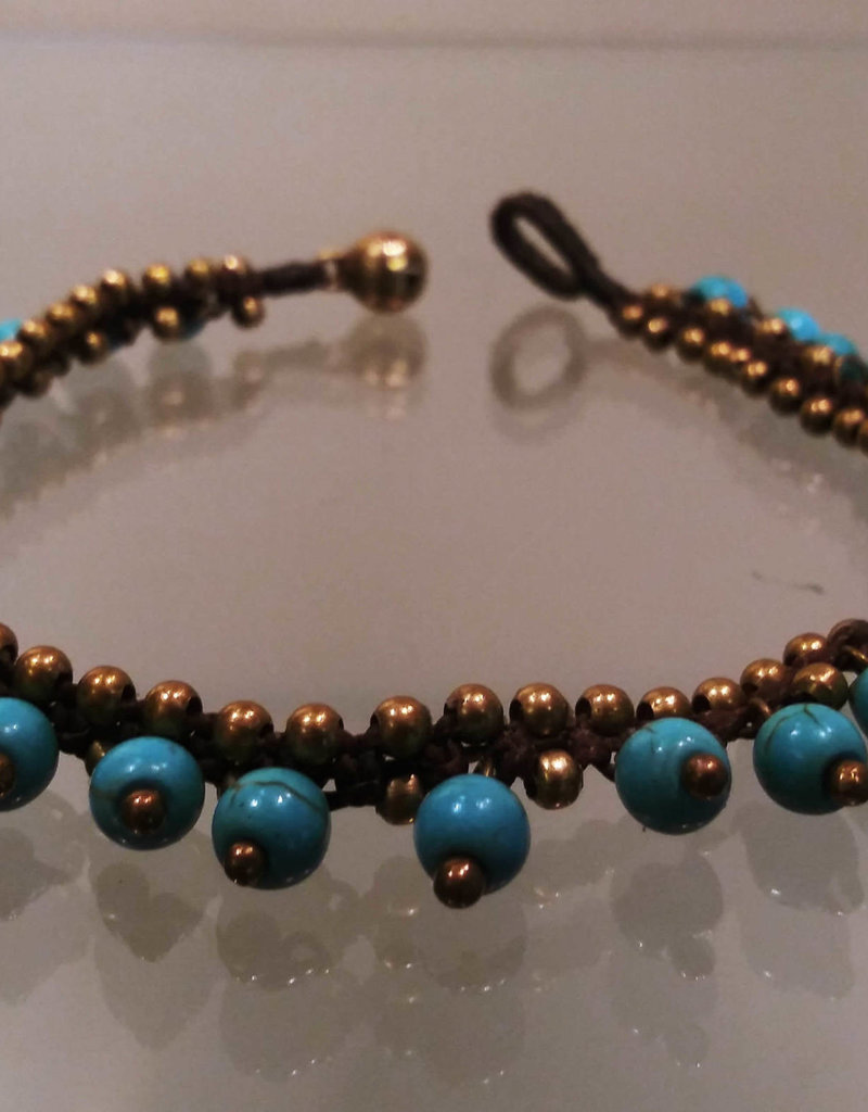 Anklet -Beads & Bells Turquoise - A2207