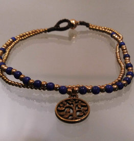 Anklet -Tree of Life Blue Color Beaded 2 Strand - A22070