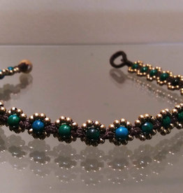 Anklet - Eight Bronze Bead Flower Green - A22012